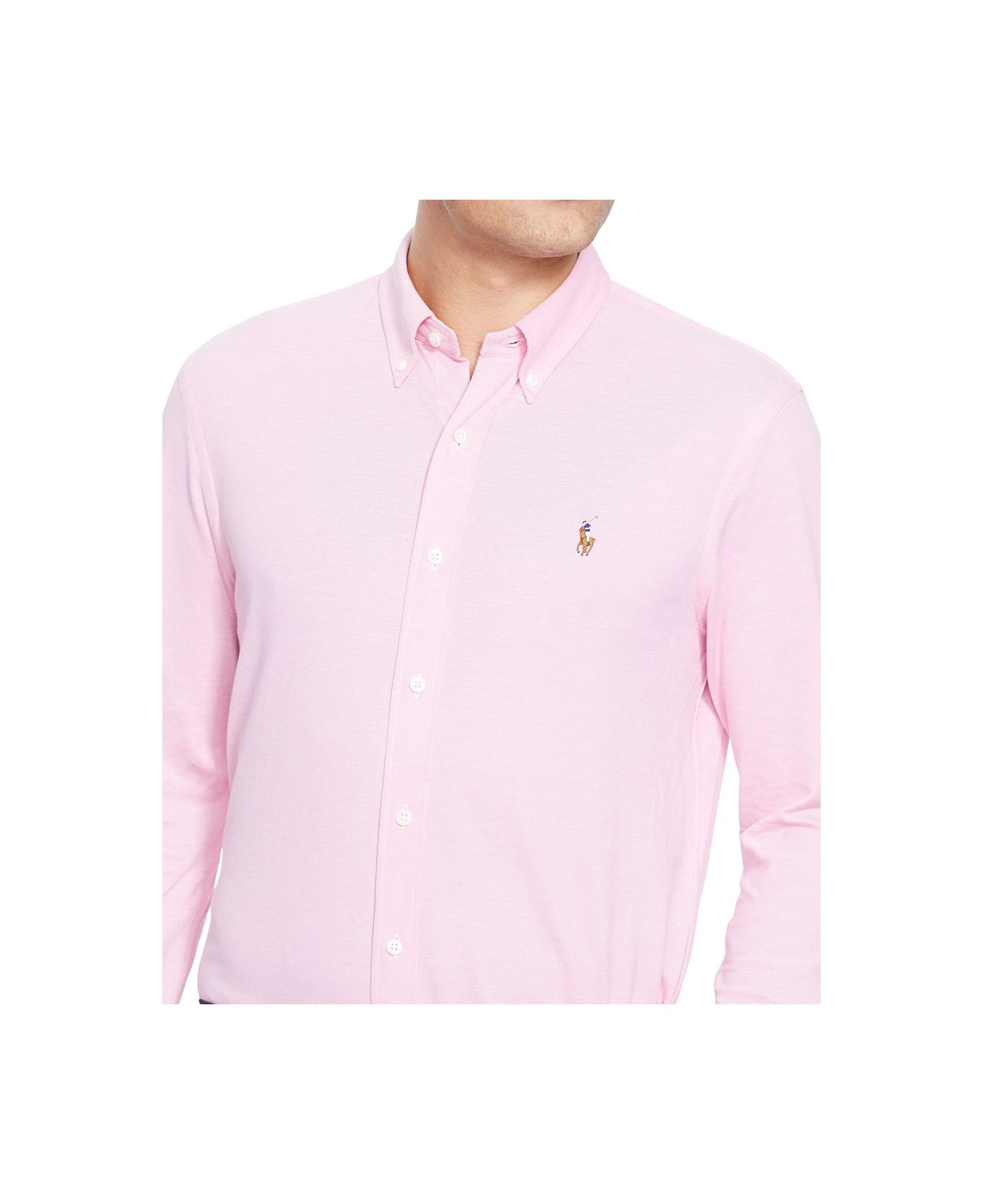 Polo ralph lauren big tall knit oxford shirt in pink for for Pink oxford shirt men