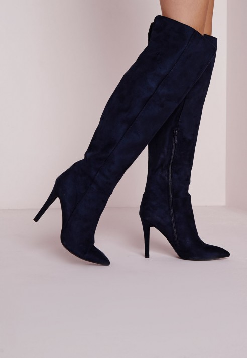 Missguided Knee High Stiletto Heeled Boots Navy in Blue | Lyst