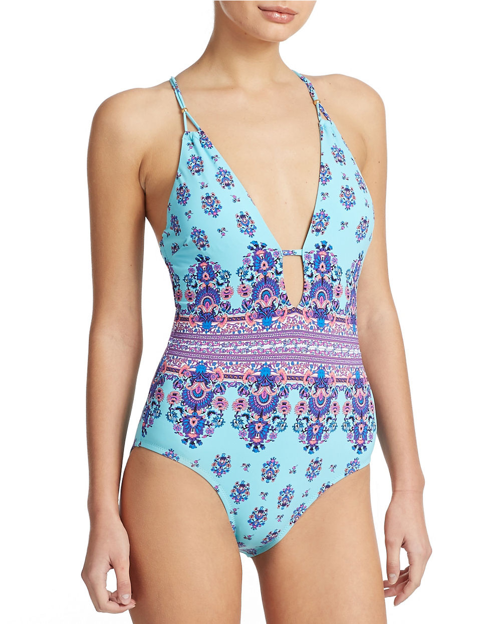 74dc1b0ffd Lyst - Nanette Lepore Maharaja Goddess One Piece Swimsuit in Blue