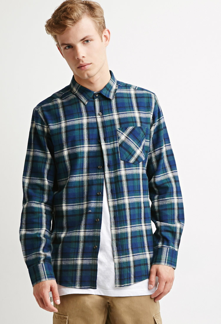 Forever 21 Plaid Flannel Shirt In Green For Men Lyst