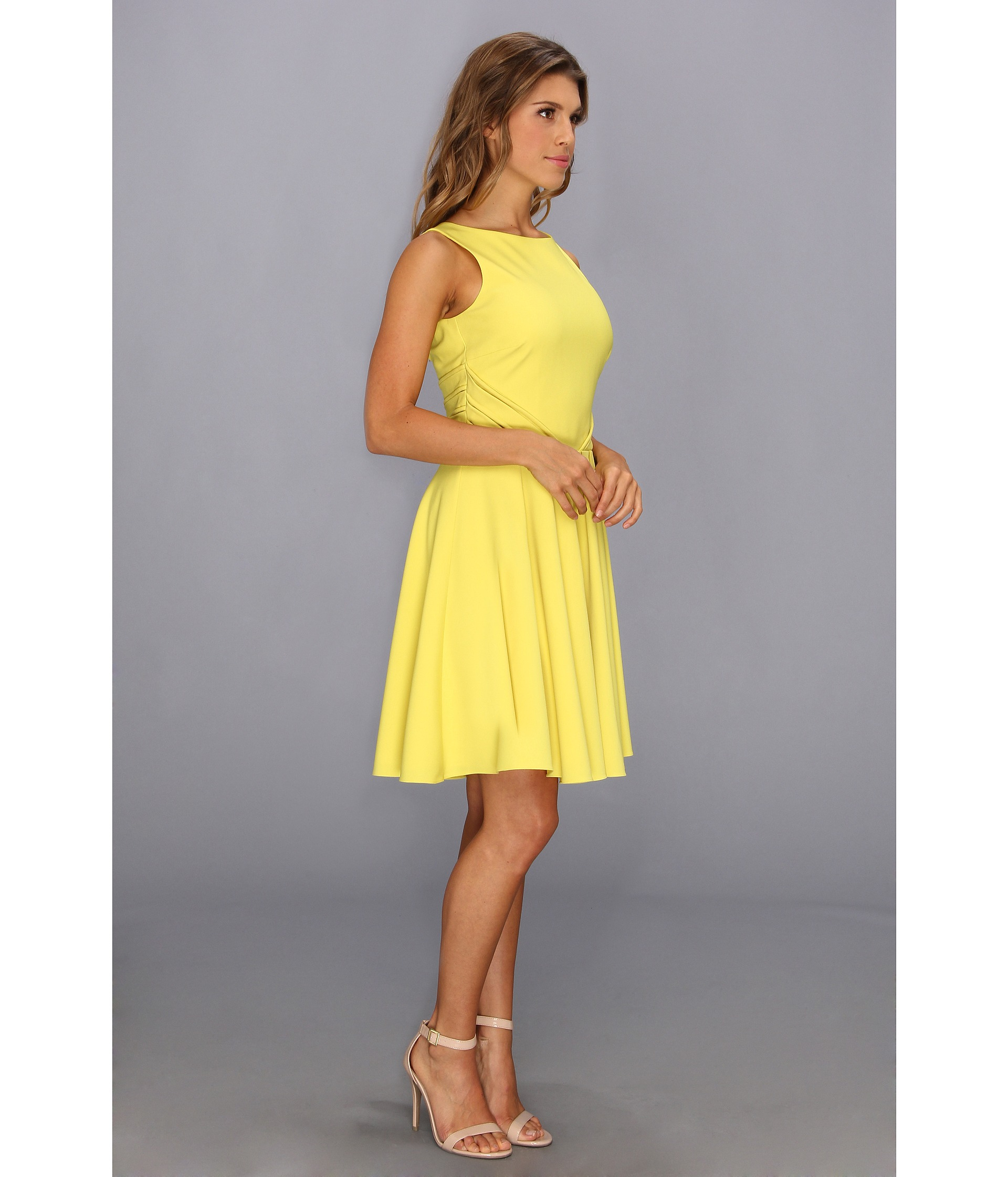 Lyst Badgley Mischka Fit And Flare Cocktail Dress Open Back In Yellow