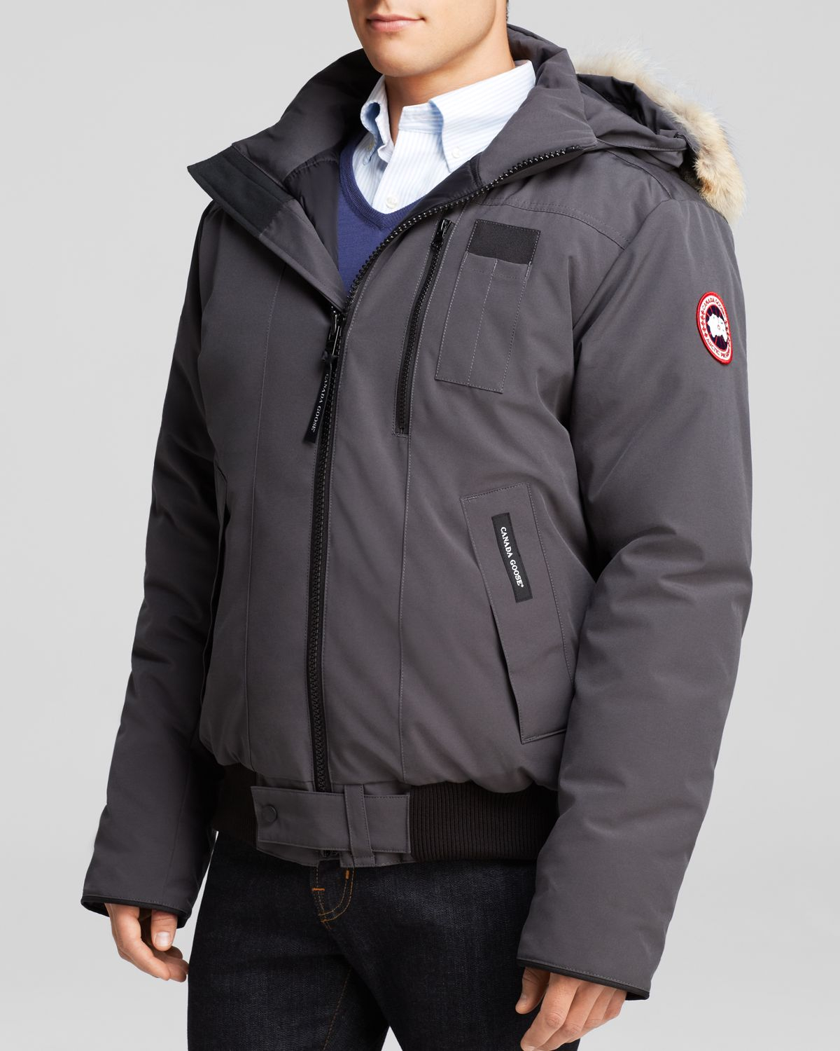 6ed8b7b557f Lyst - Canada Goose Borden Bomber Parka With Fur Hood in Gray for Men