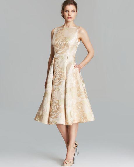 Adrianna Papell Dress Sleeveless Brocade Tea Length In