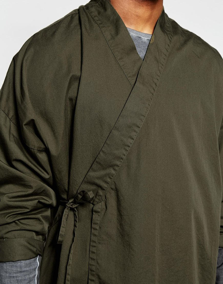 Asos Military Kimono With Tie Front And Long Sleeves In