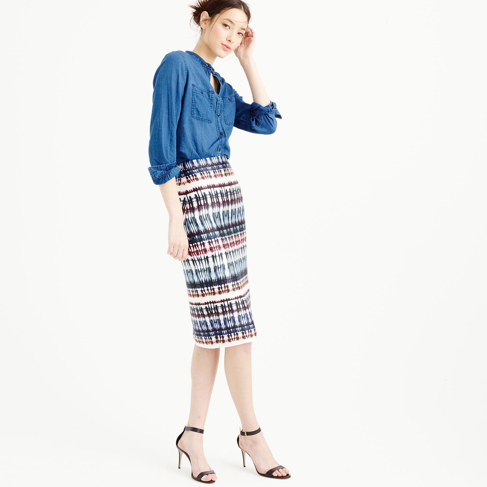 602f2ab3c937 J.Crew Collection Silk Skirt In Tie-dye Print in Blue - Lyst