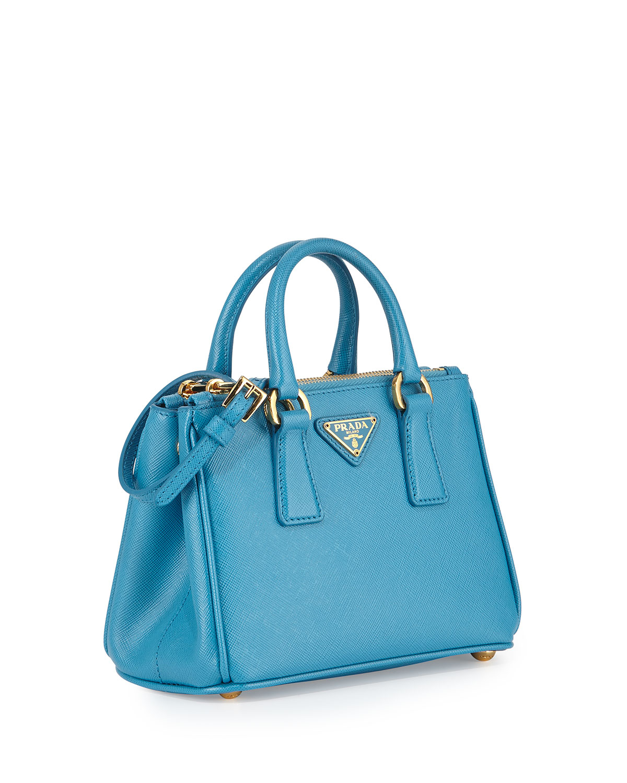 3d3109bc8671 ... top quality lyst prada saffiano mini galleria crossbody bag in blue  4b92a 3c234