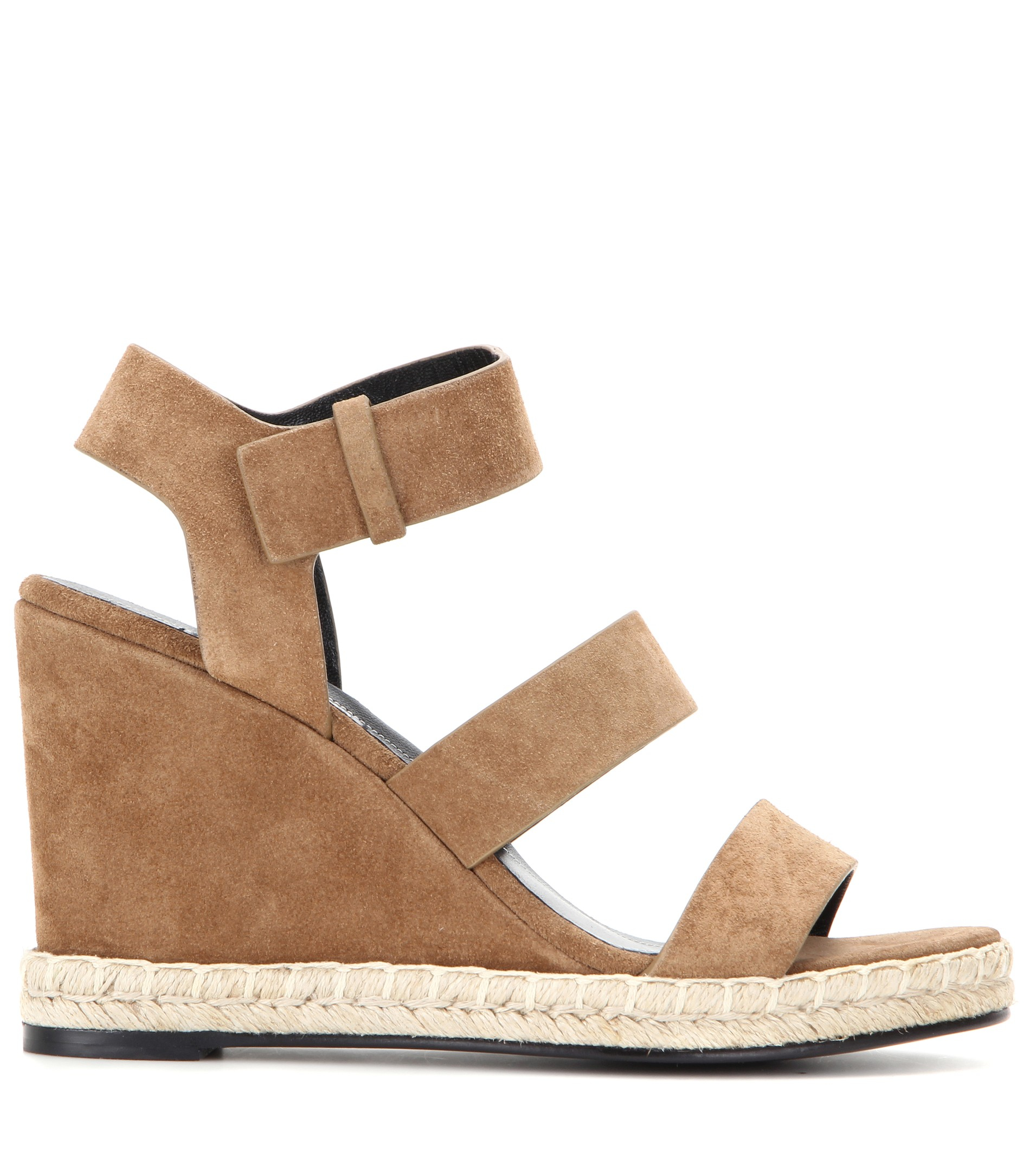 6ed6bb1cd25f Lyst - Balenciaga Suede Wedge Sandals in Brown