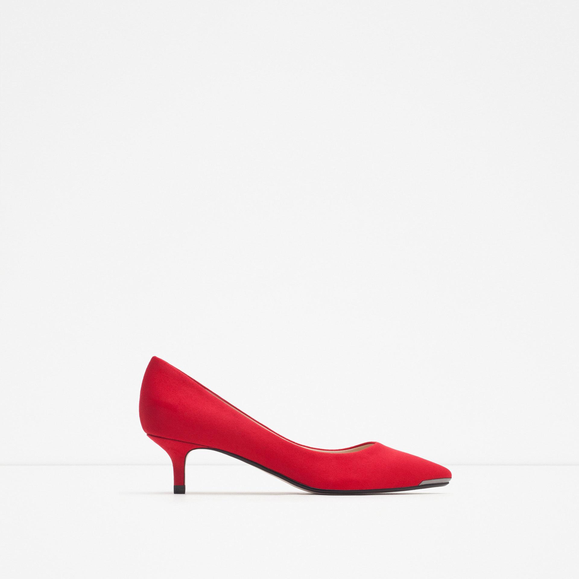 Zara Mid Heel Shoes in Red  Lyst