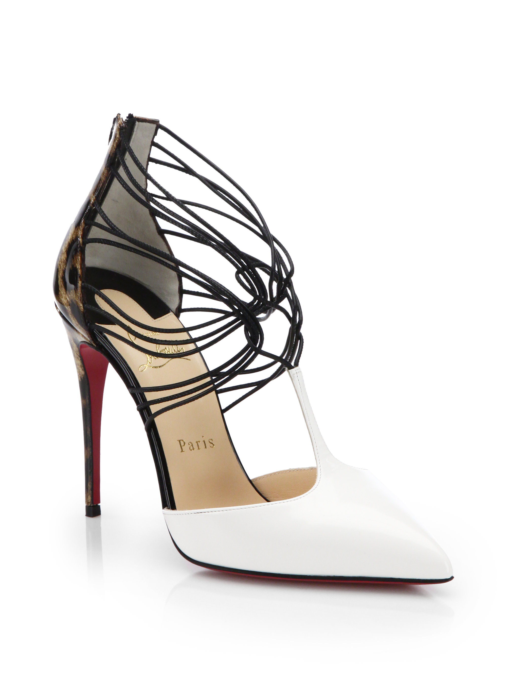 4418688c456a ... new zealand lyst christian louboutin confusa leopard print t strap pumps  in white 1ca06 fc92f