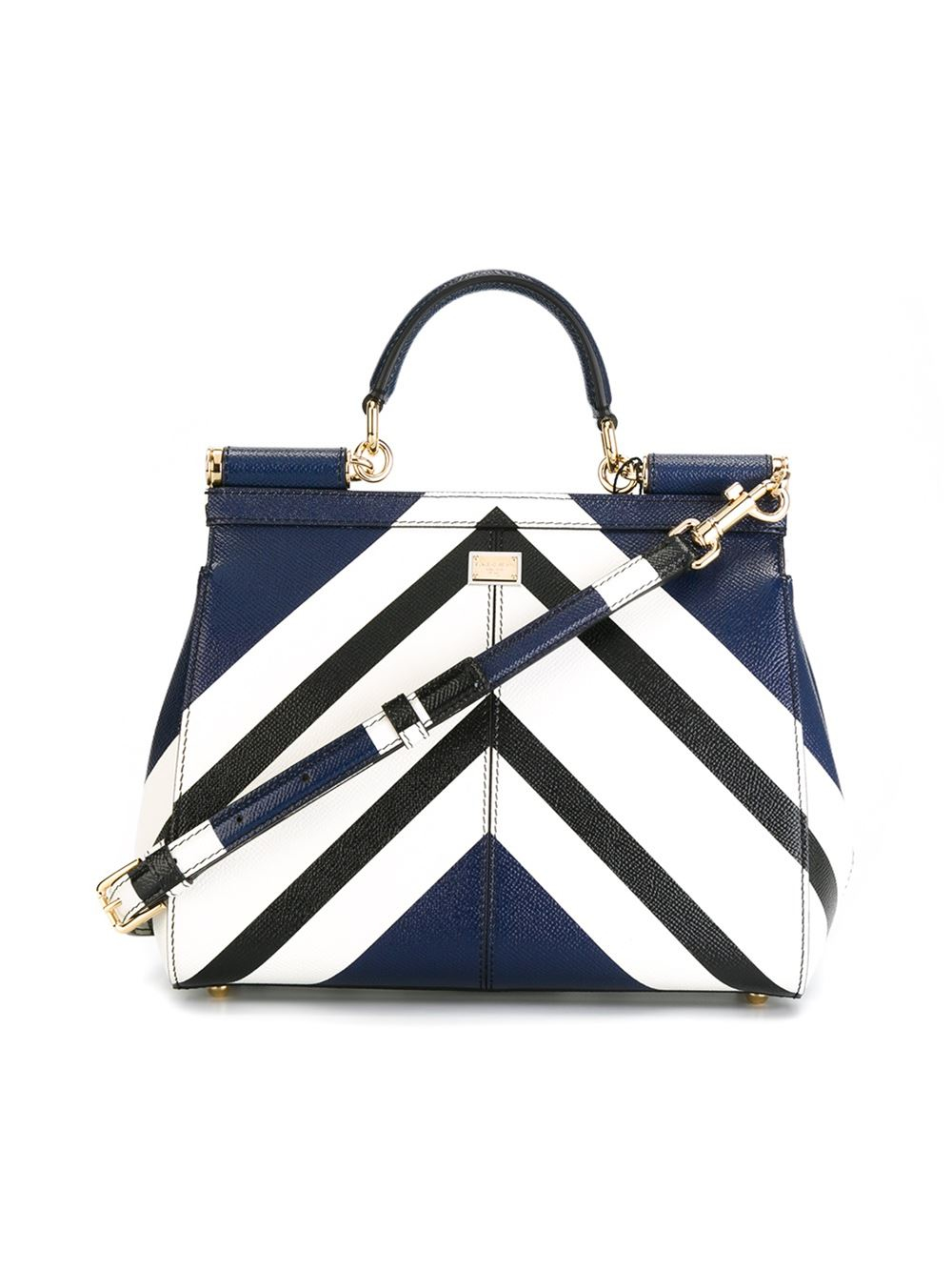 639bdc3d2 Dolce & Gabbana Striped Print Miss Sicily Medium Handbag in Blue - Lyst