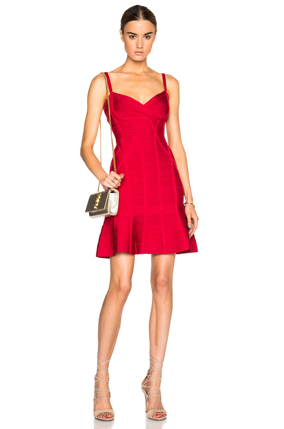Lyst Herv 233 L 233 Ger Fit Amp Flare Dress In Red