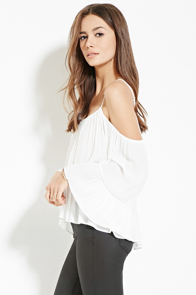 5c9199b4d7f1a2 Lyst - Forever 21 Contemporary Chiffon Open-shoulder Top in White
