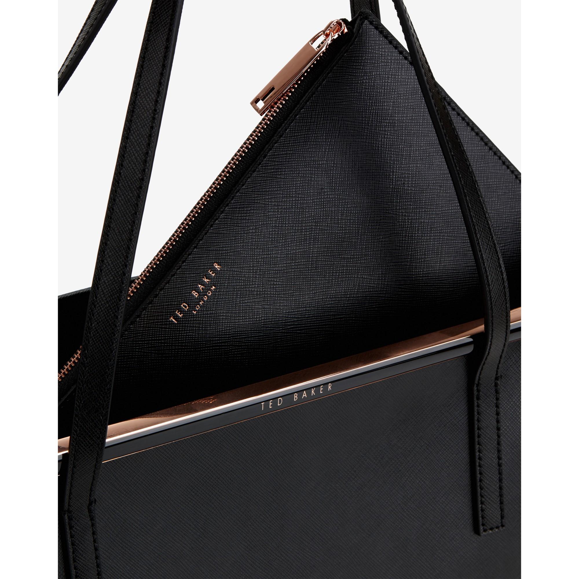 b1005a6d1 Ted Baker Celiaa Crosshatch Leather Shopper Bag in Black - Lyst