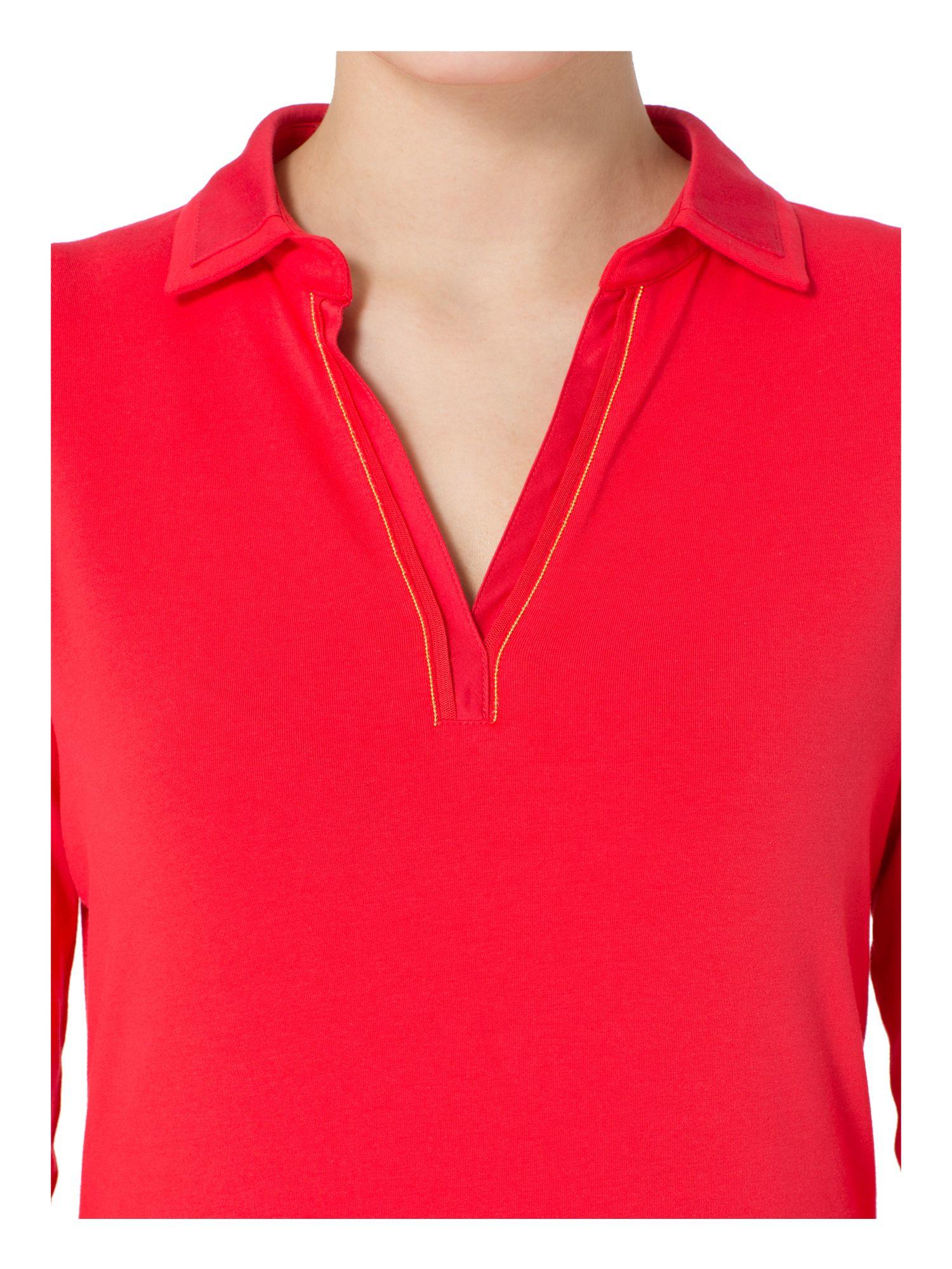 basler polo shirt with v neck detail in red lyst. Black Bedroom Furniture Sets. Home Design Ideas
