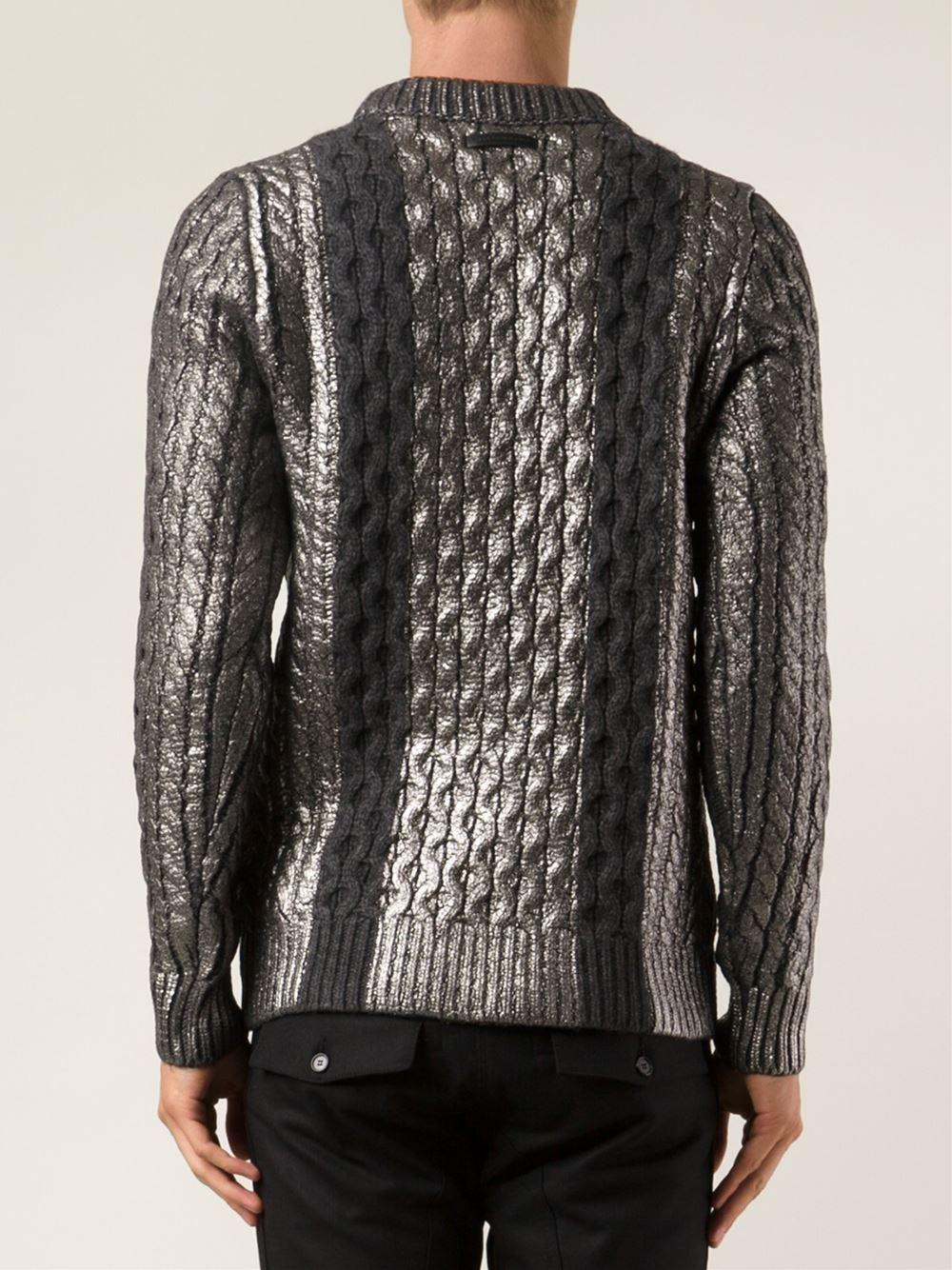 Diesel black gold Metallic Sweater in Gray for Men | Lyst