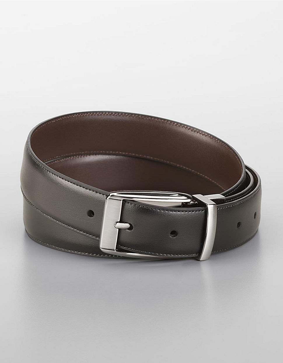 perry ellis feathered edge leather dress belt in black for