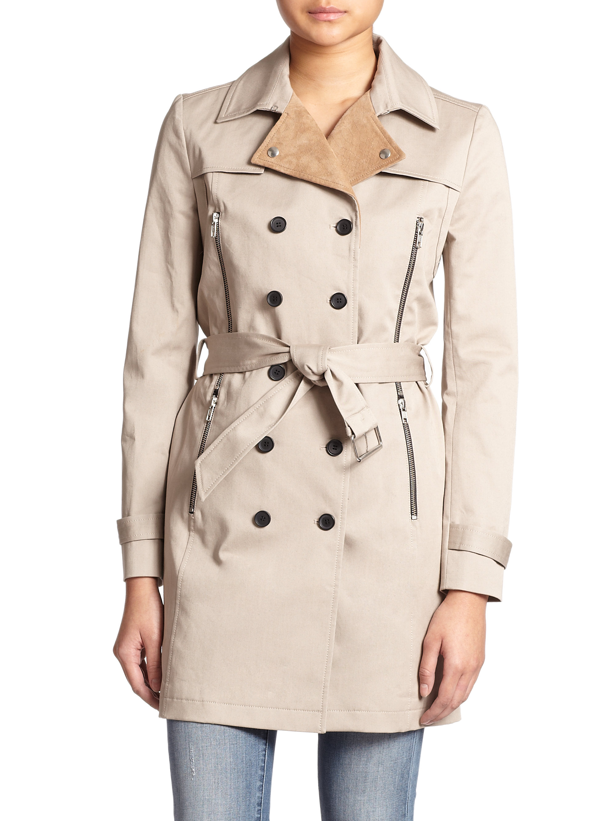 e165203c97e The Kooples Leather-collar Stretch-cotton Trench Coat in Natural - Lyst