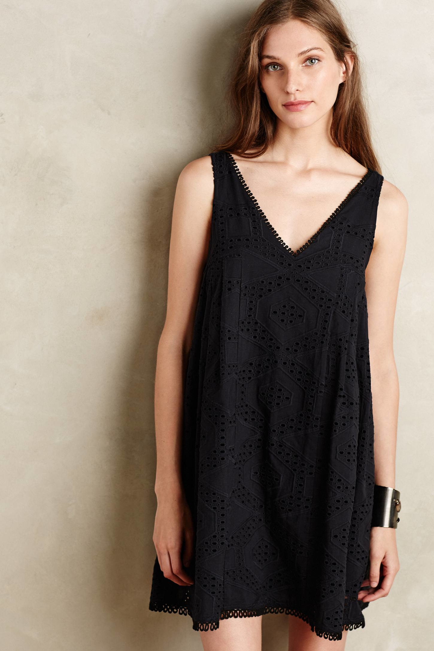 7d62f49a31bbc Maeve Luci Eyelet Swing Dress in Black - Lyst