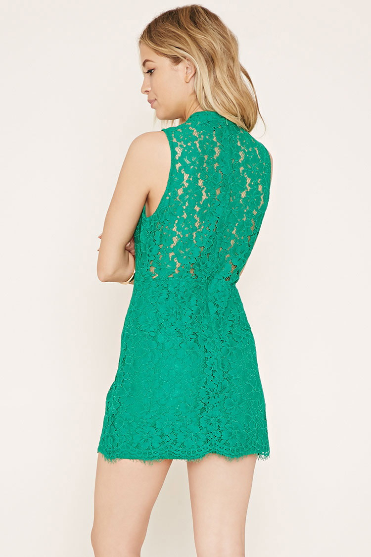 Forever 21 Lace Sheath Dress in Green | Lyst