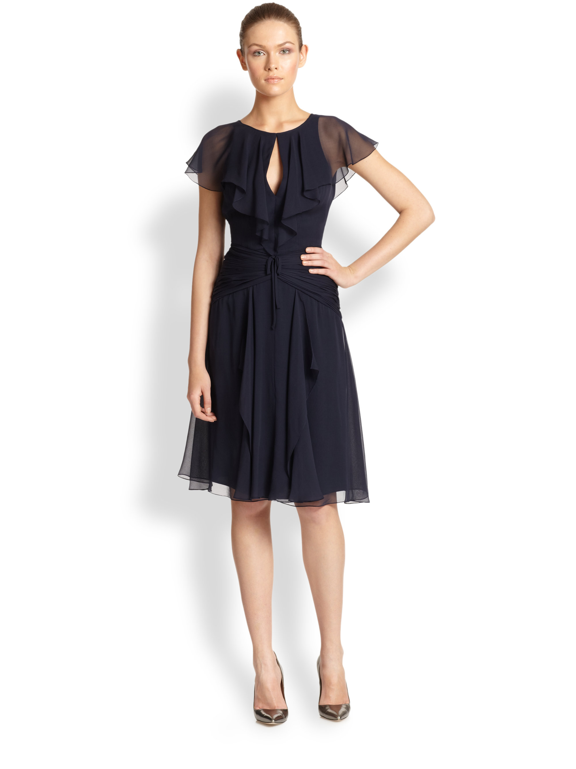 Carolina herrera Silk Chiffon Flutter-Sleeve Dress in Blue | Lyst