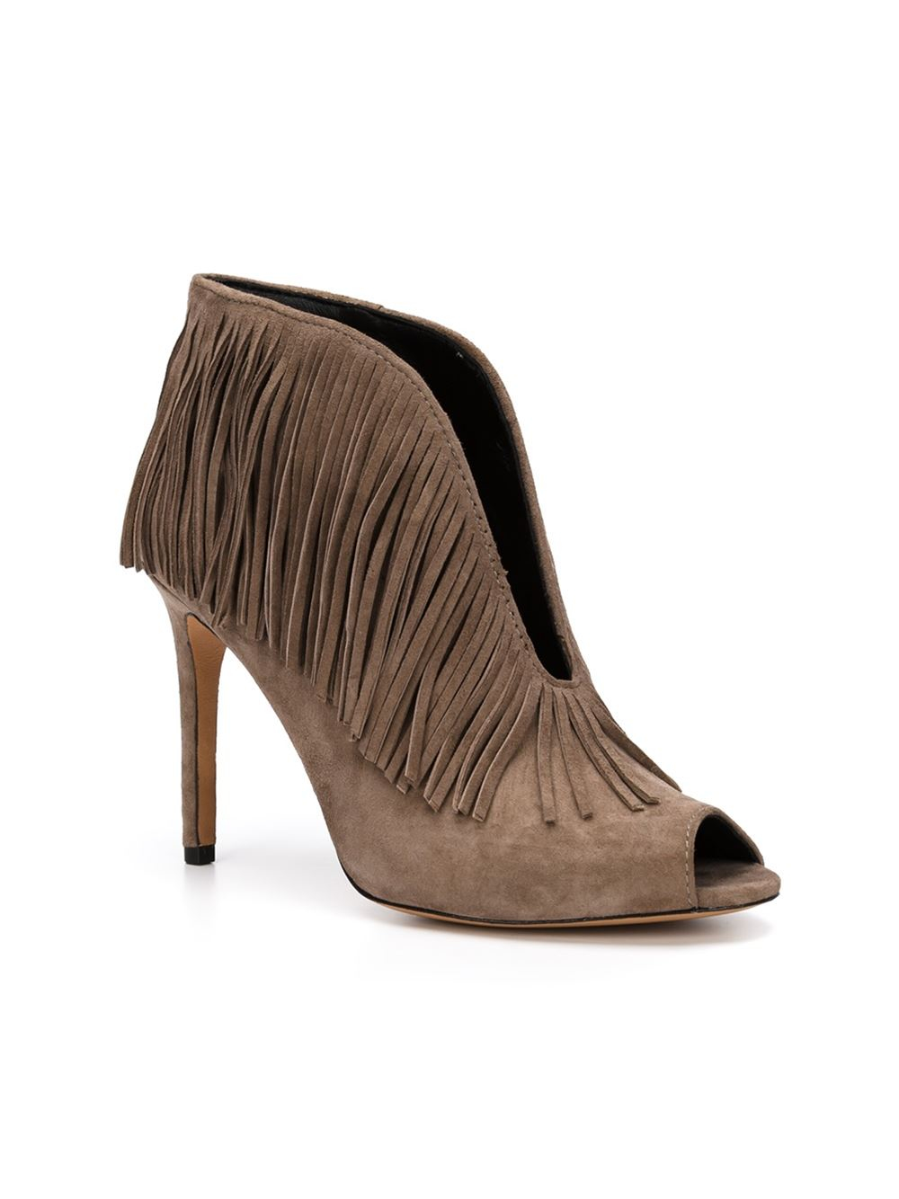 vince camuto fringed ankle boots in brown lyst