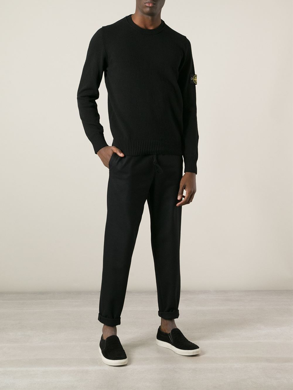 ab355eaf5be2d Stone Island Crew Neck Sweater in Black for Men - Lyst