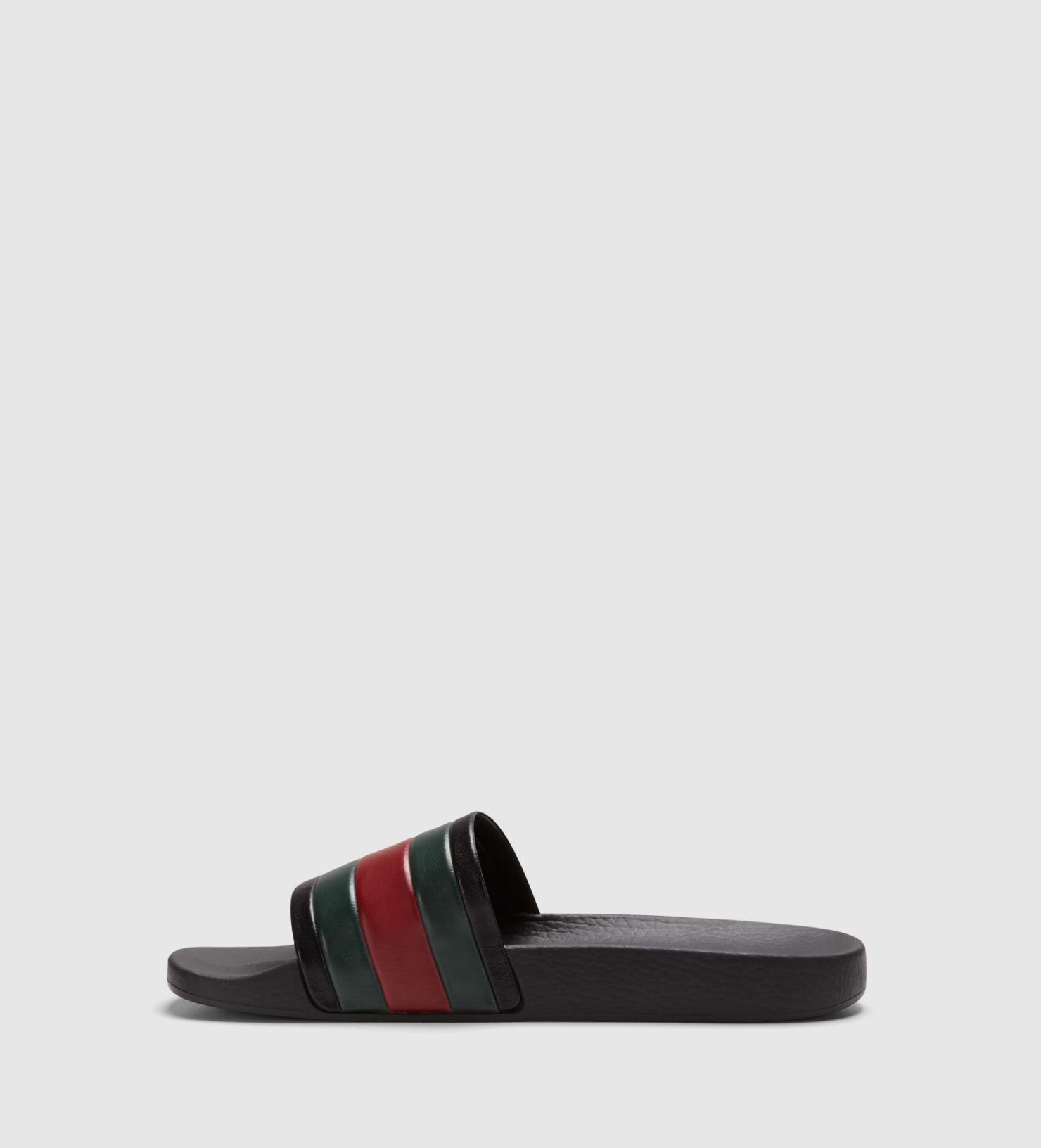 f14d11496982 Lyst - Gucci Black Rubber Slide Sandal in Black for Men