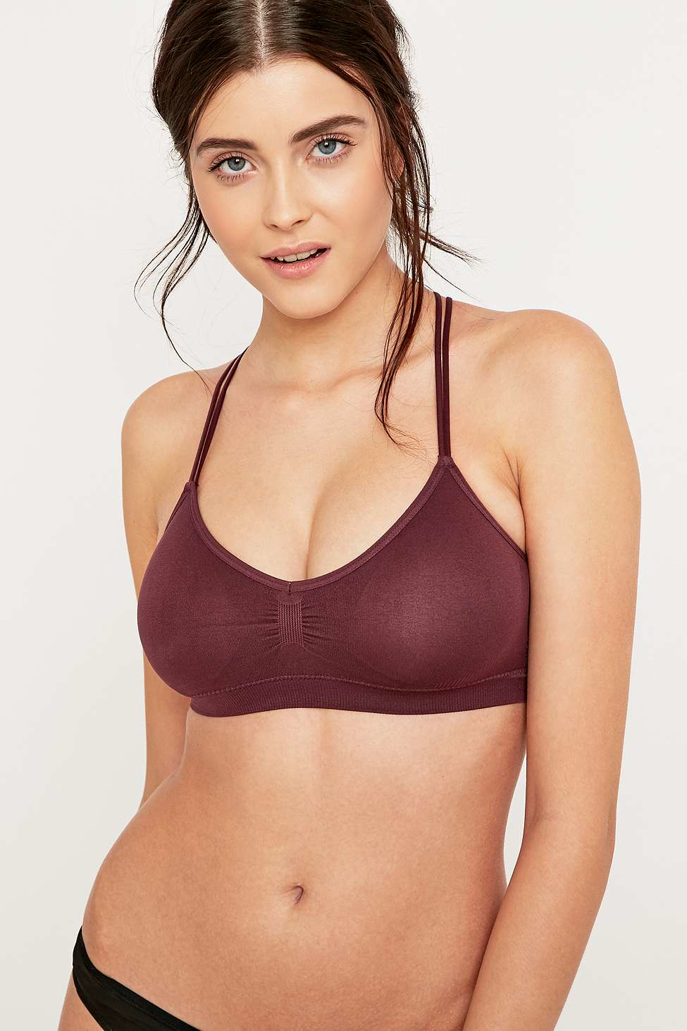 ea274ea07 Urban Outfitters Seamless O-ring Strappy Burgundy Bralette in Red - Lyst