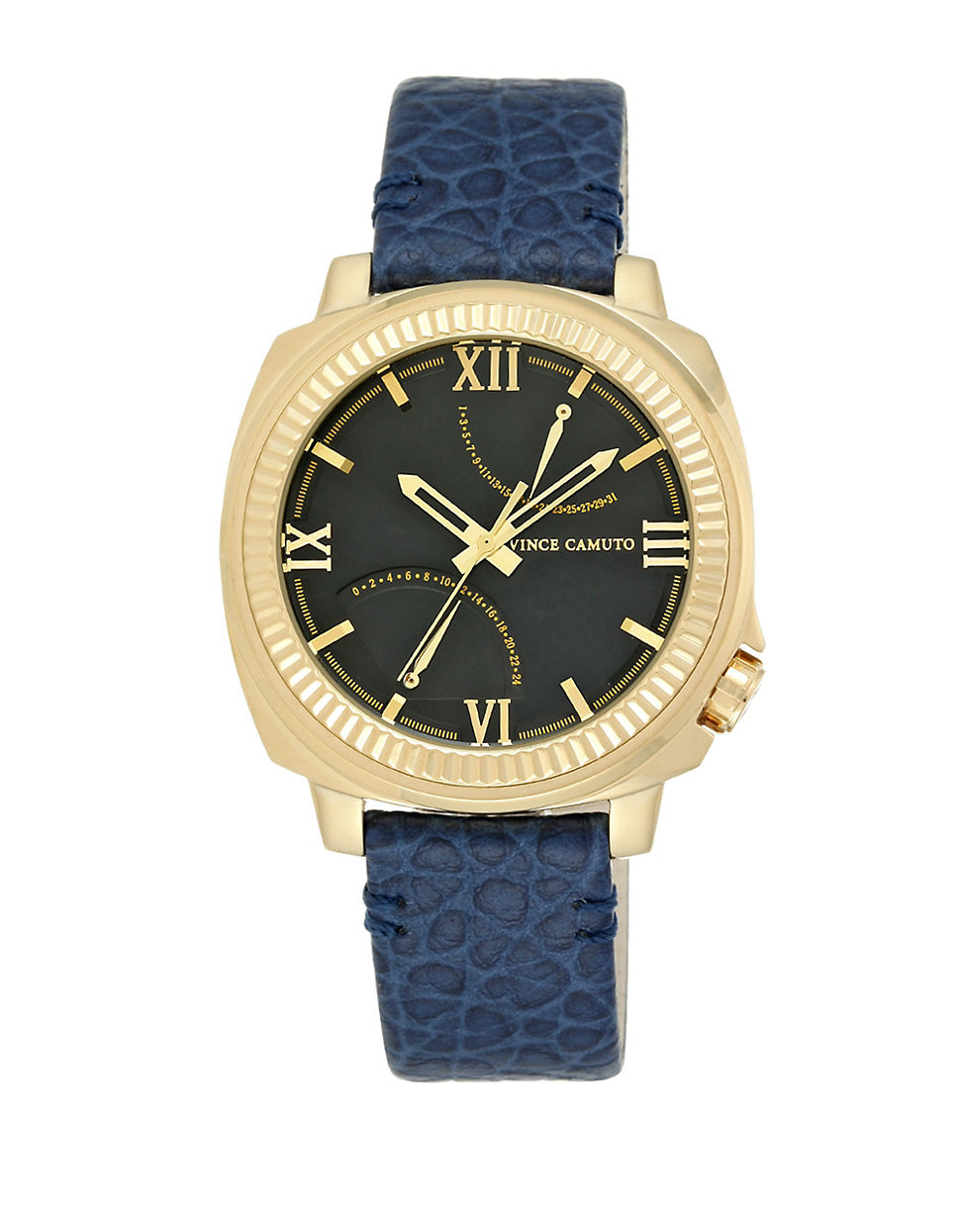 vince camuto goldtone stainless steel navy leather