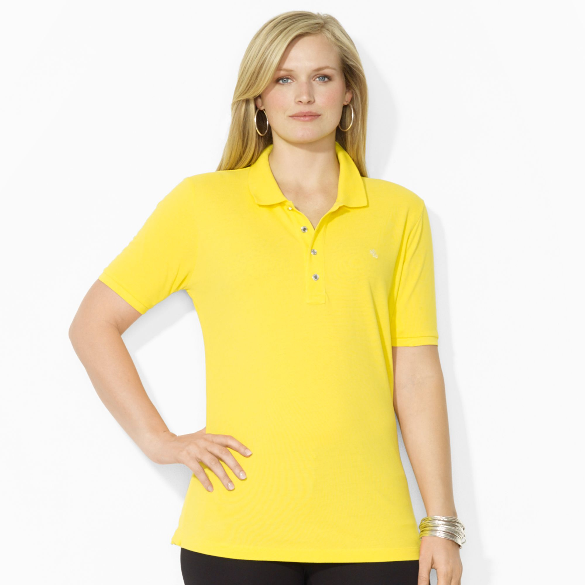 lauren by ralph lauren plus size shortsleeve polo shirt in yellow lyst. Black Bedroom Furniture Sets. Home Design Ideas