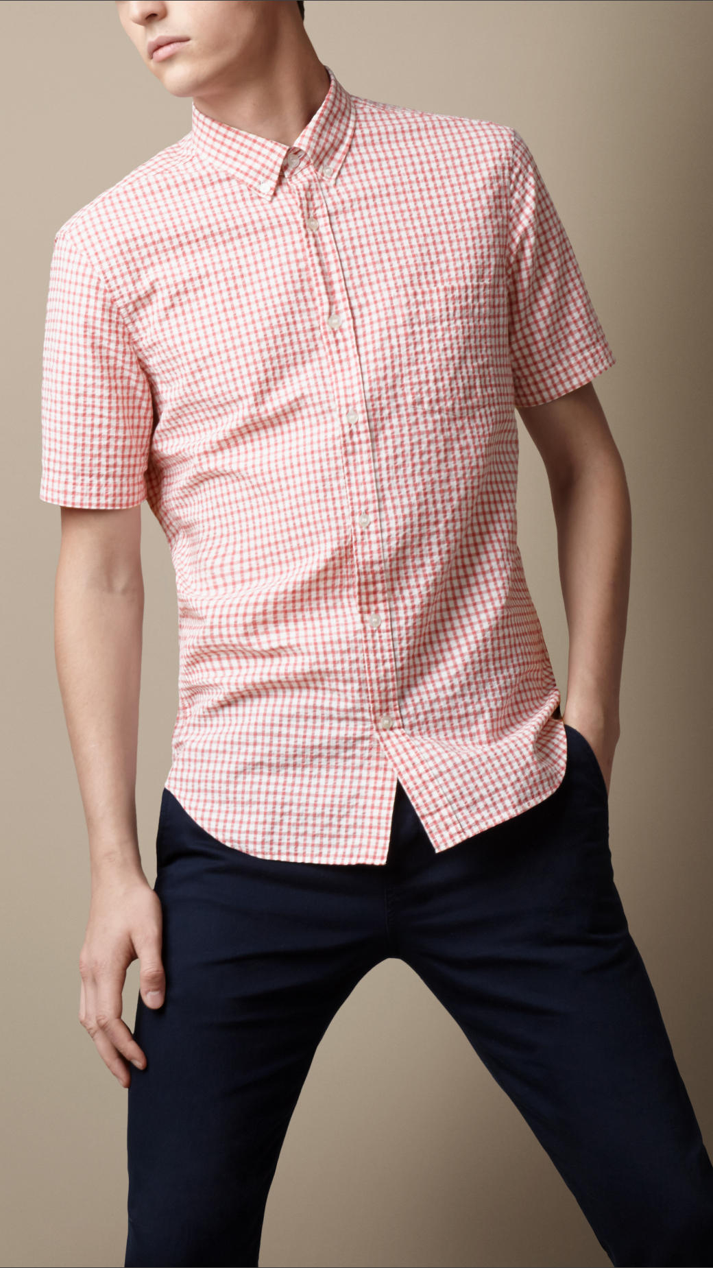Lyst - Burberry Check Cotton Seersucker Shirt in Pink for Men 9eba11142395