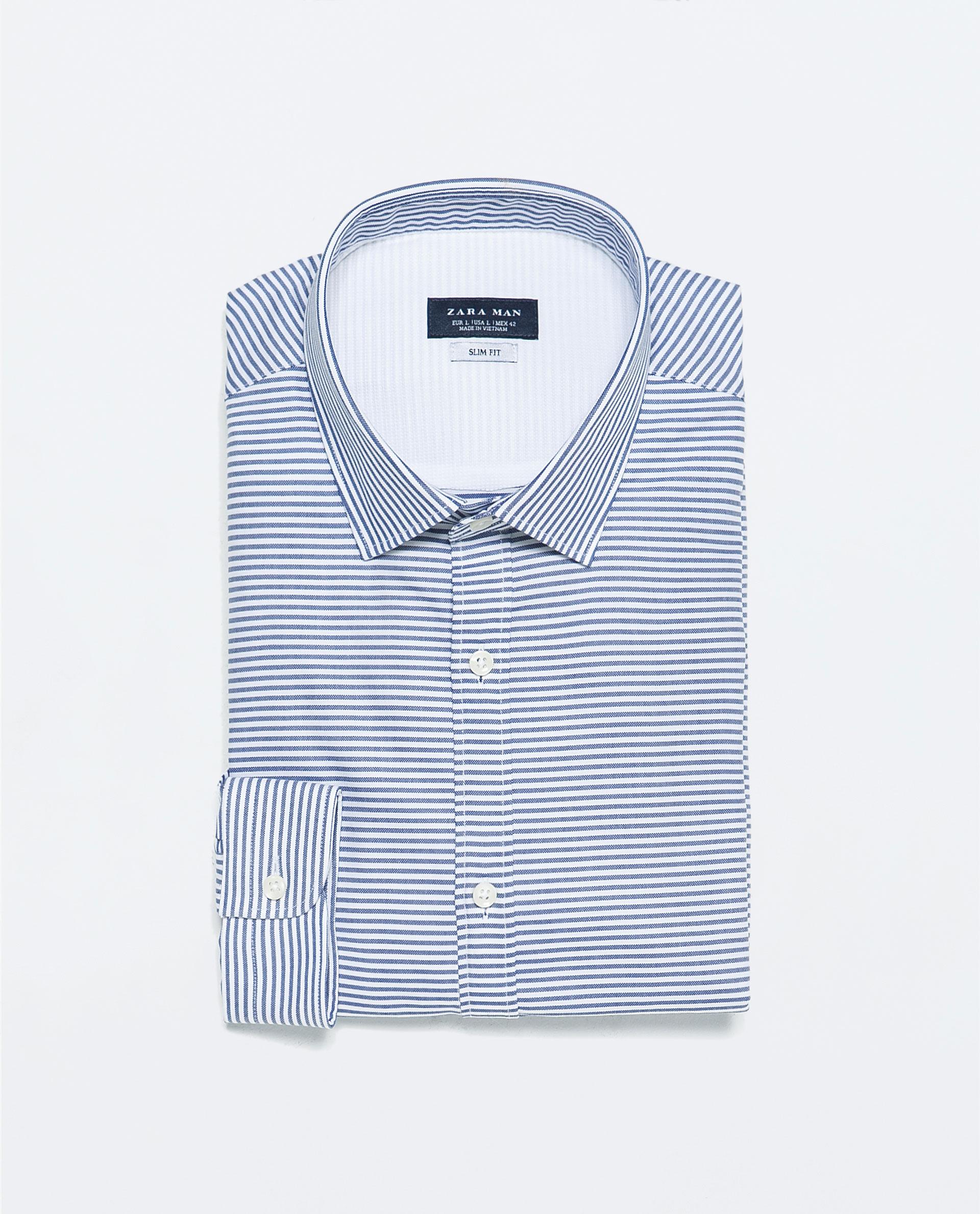 Zara horizontal stripe shirt horizontal stripe shirt in for Horizontal striped dress shirts men