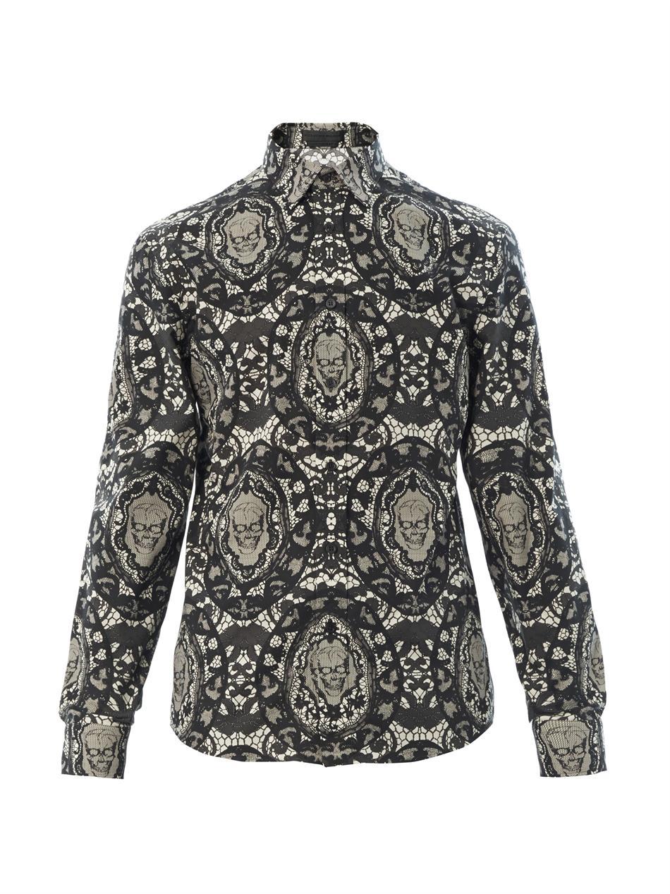 Alexander Mcqueen Lace Skullprint Shirt in Black for Men ...