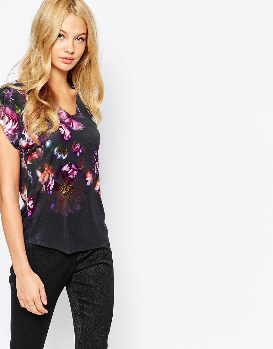 5754a0a0f Lyst - Ted Baker Vespah T-shirt In Floral in Black