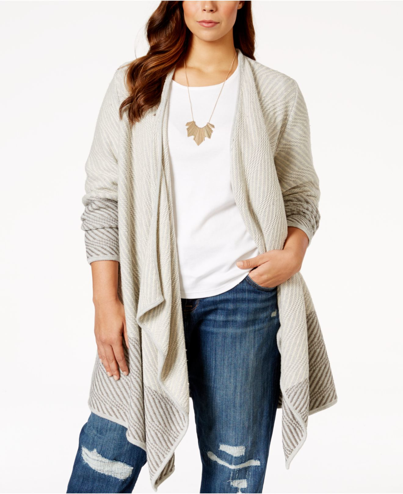 Lucky brand Plus Size Open-front Waterfall Cardigan in White | Lyst