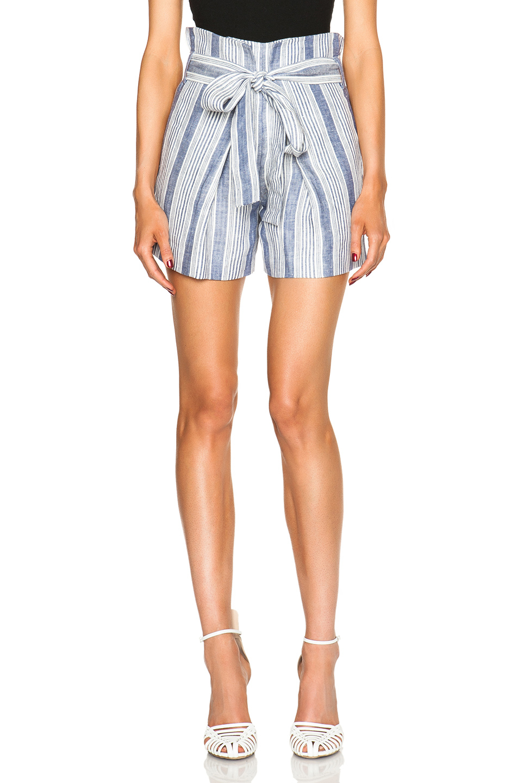 Lyst Jenni Kayne Baja Stripe Paper Bag Linen Shorts In Blue