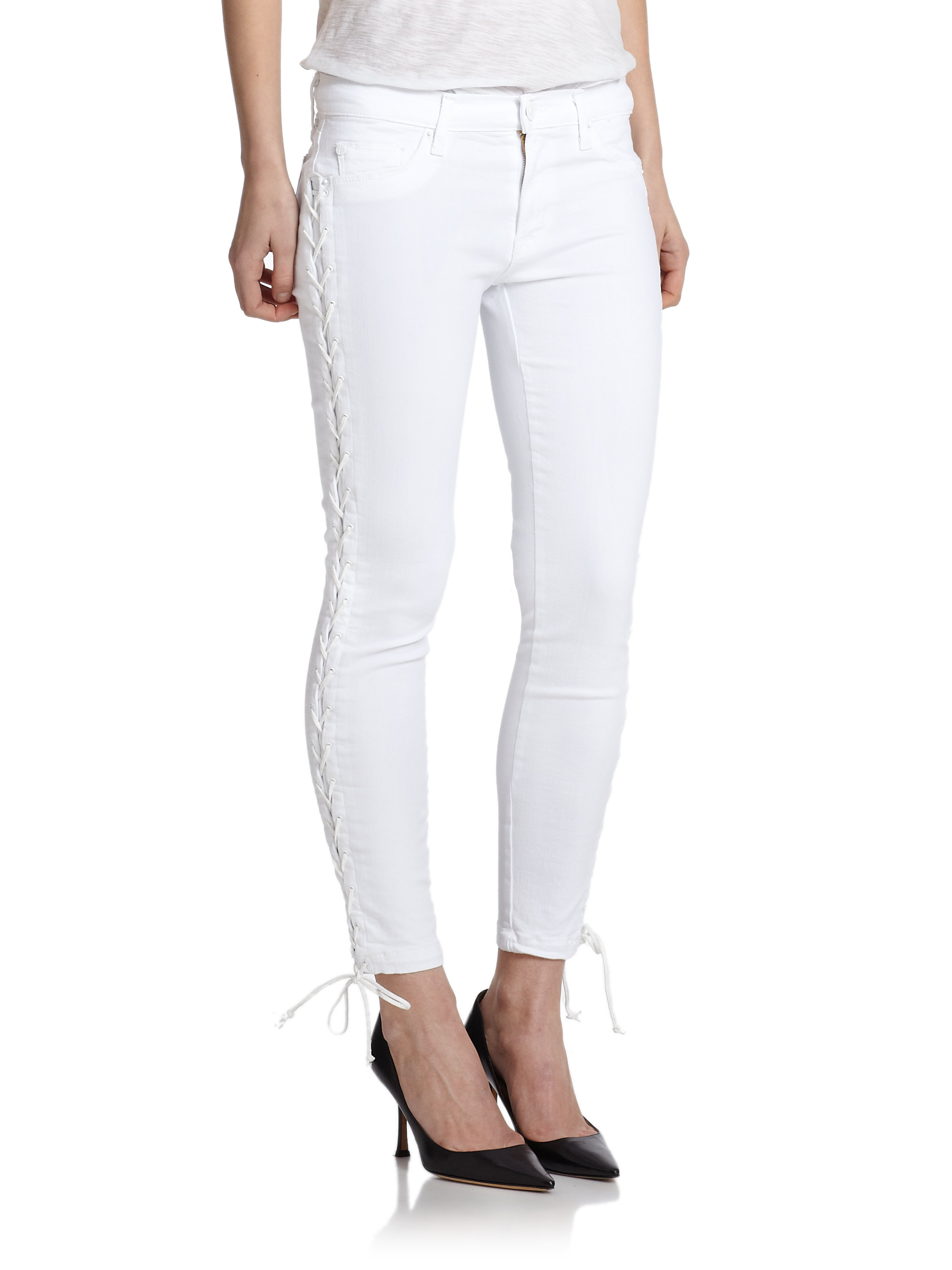 Hudson jeans Raven Lace-up Cropped Super Skinny Jeans in White | Lyst