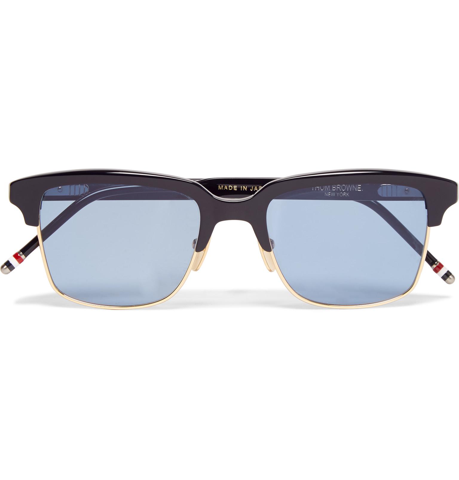 9a473e8d92a Thom Browne Square-frame Acetate And Gold-tone Sunglasses in Blue ...