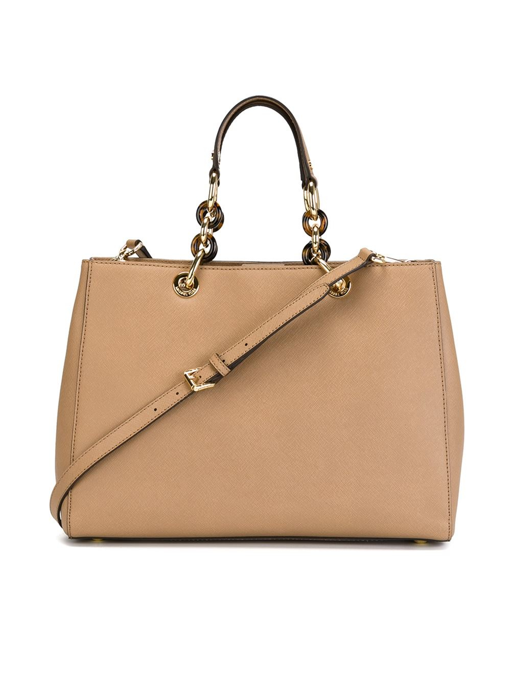 Lyst Michael Michael Kors Large Cynthia Tote In Natural