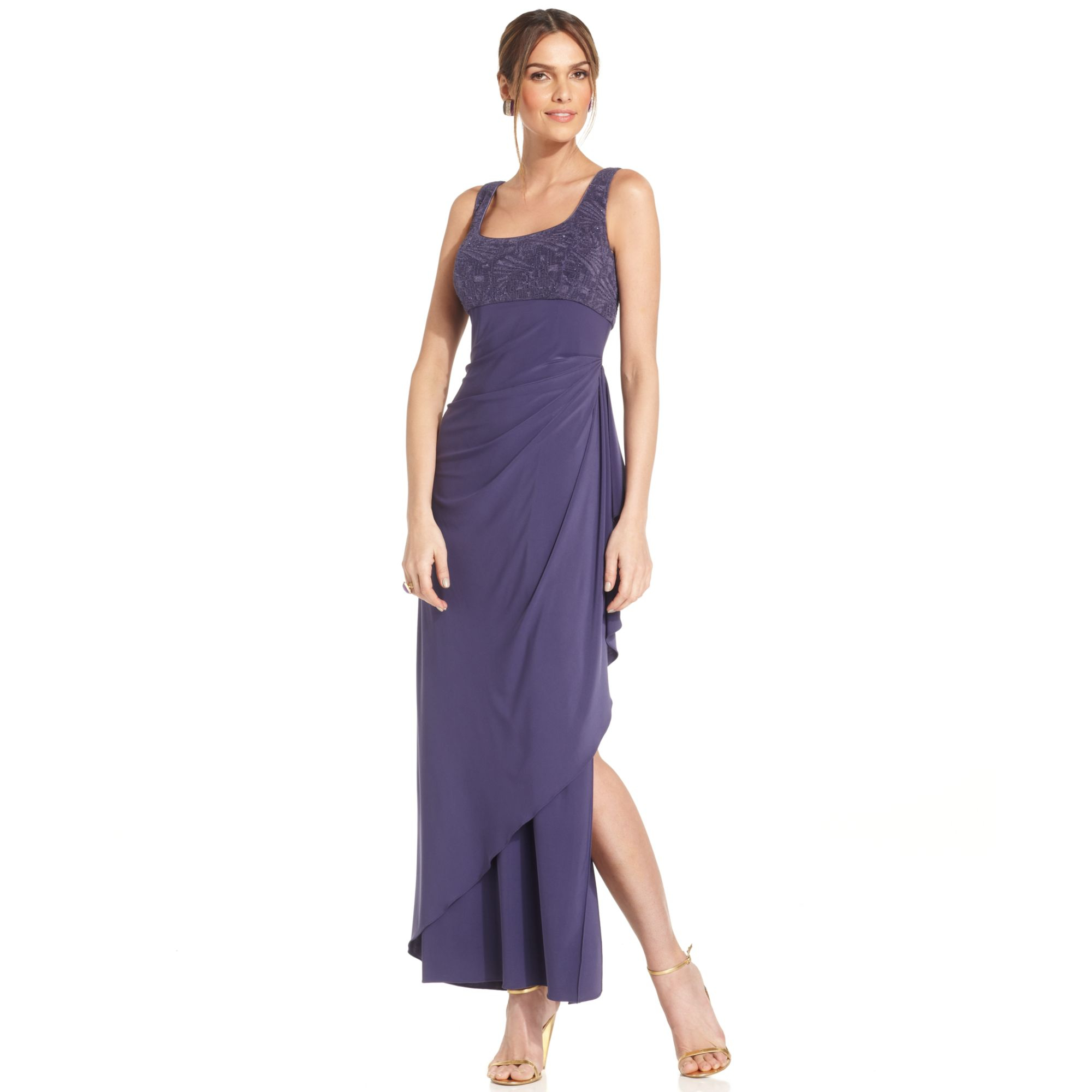 Lyst - Alex Evenings Petite Sleeveless Glitter Gown and Jacket in Purple