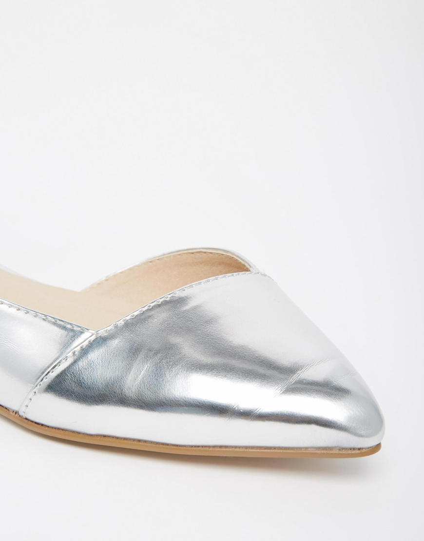 e0c7fc15ec0 Lyst - ASOS Asos Look Back Wide Fit Pointed Ballet Flats in Metallic