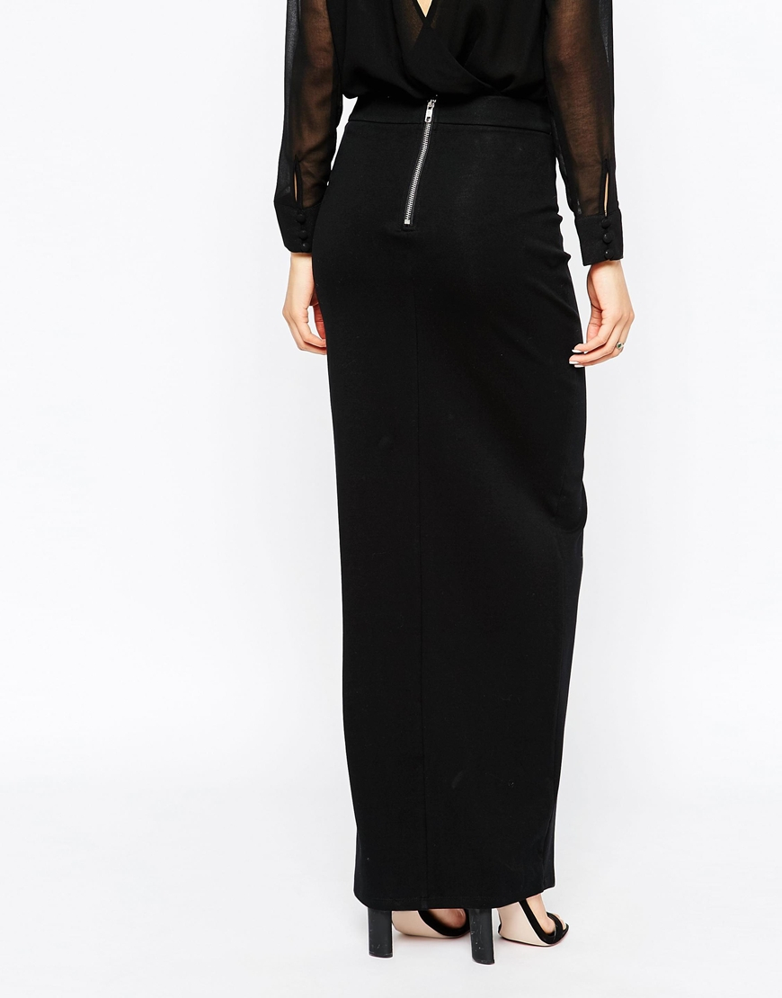 Tiger mist Split Front Maxi Skirt in Black | Lyst