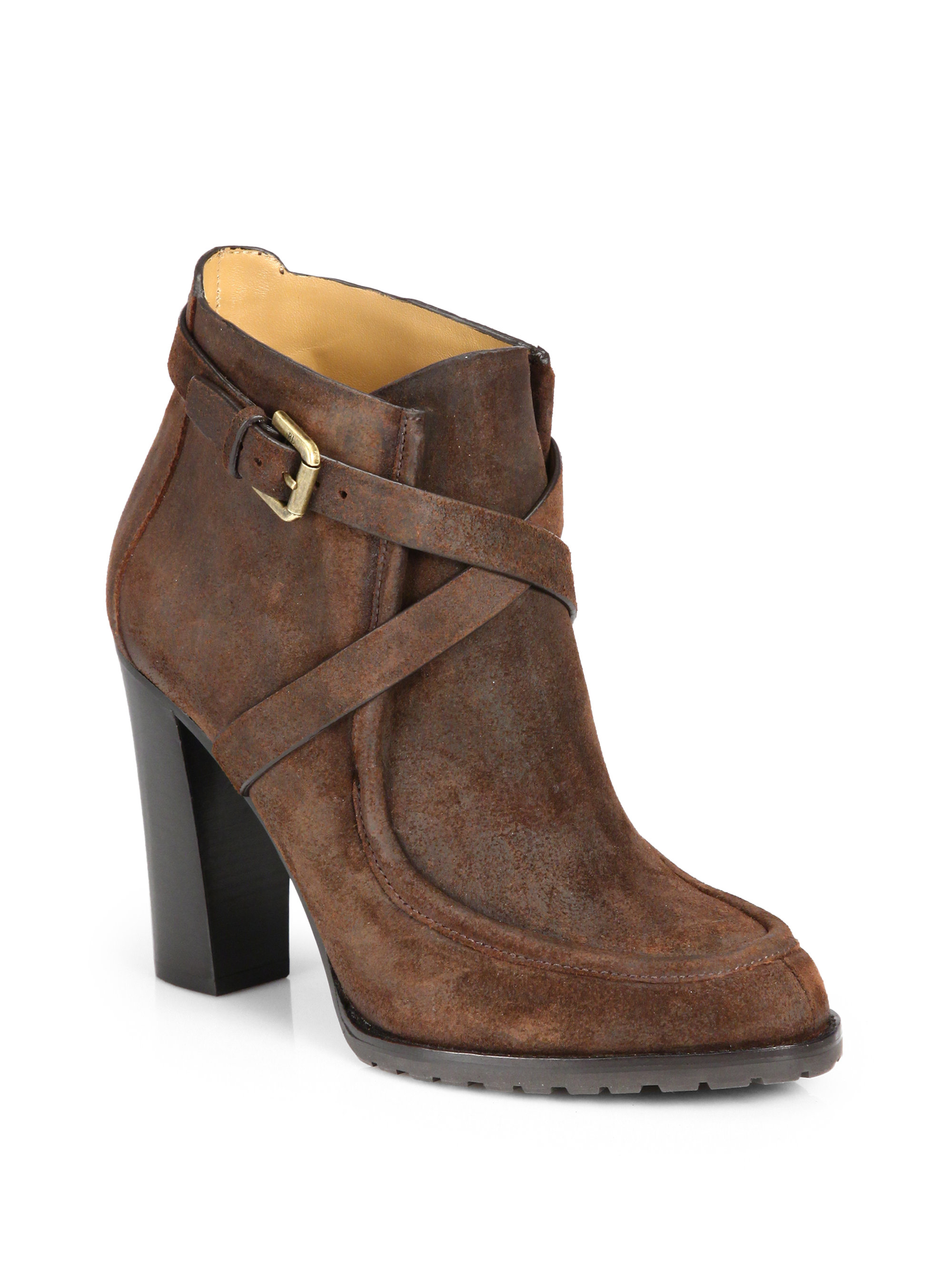 ralph collection modina suede ankle boots in brown