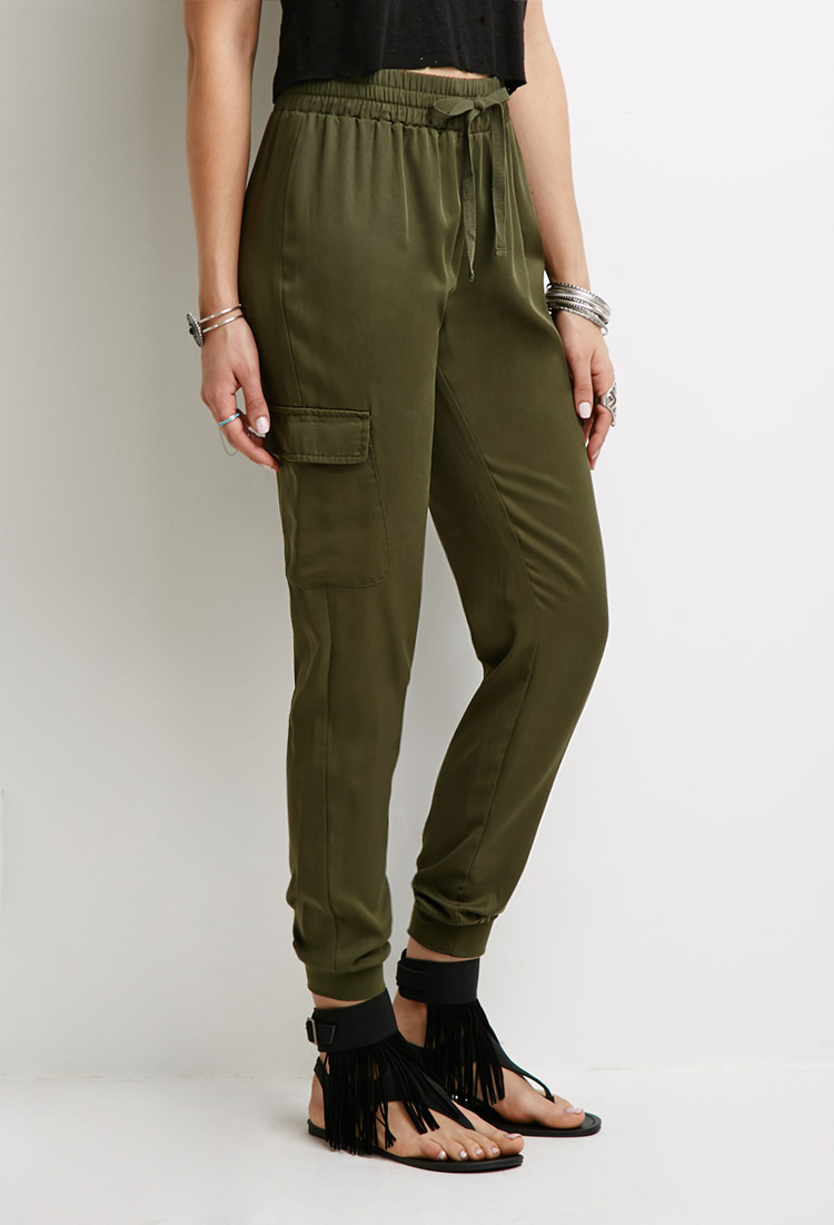Lyst Forever 21 Twill Woven Cargo Joggers You Ve Been