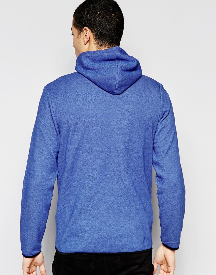 jack jones zipped through hoodie in blue for men lyst. Black Bedroom Furniture Sets. Home Design Ideas