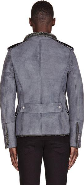 Balmain Grey Military Shearling Coat In Gray For Men Grey