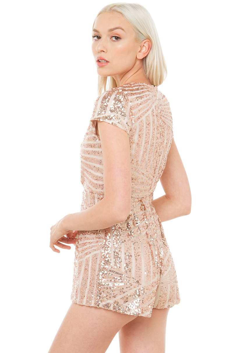 4c1a0f57fa32 Lyst - AKIRA This Is My Sequin Romper - Rose Gold in Pink