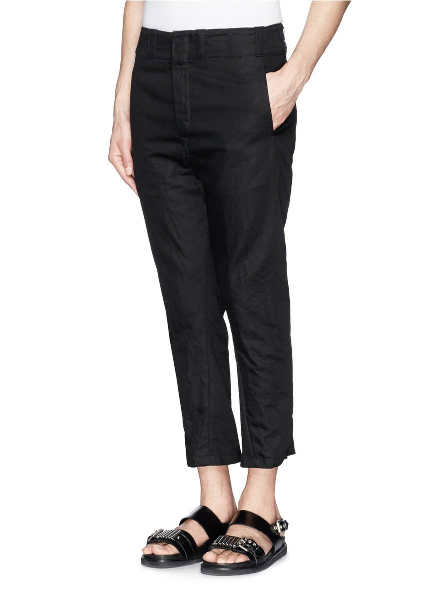 Ann demeulemeester Cotton-linen Twill Cropped Pants in Black for ...