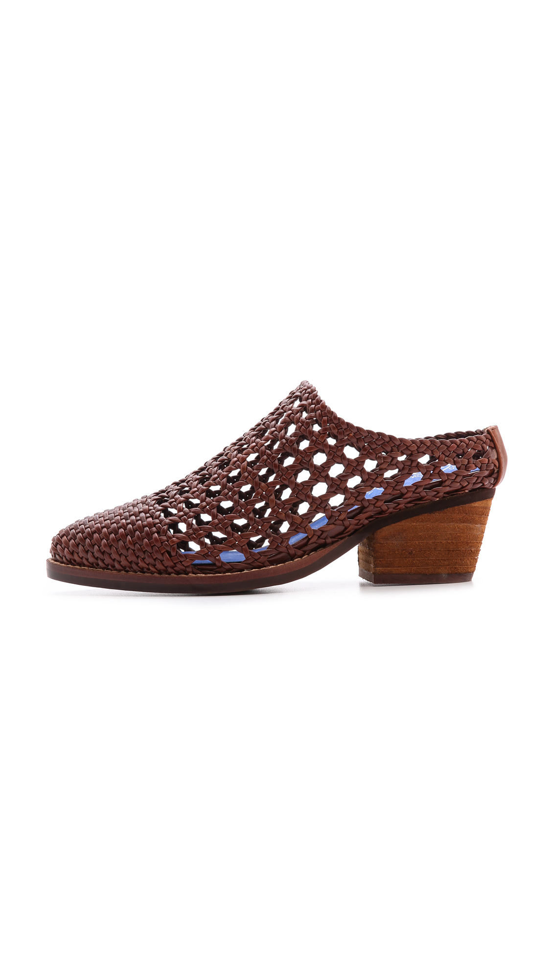 Jeffrey Campbell Armadillo Woven Mules Brown In Brown Lyst