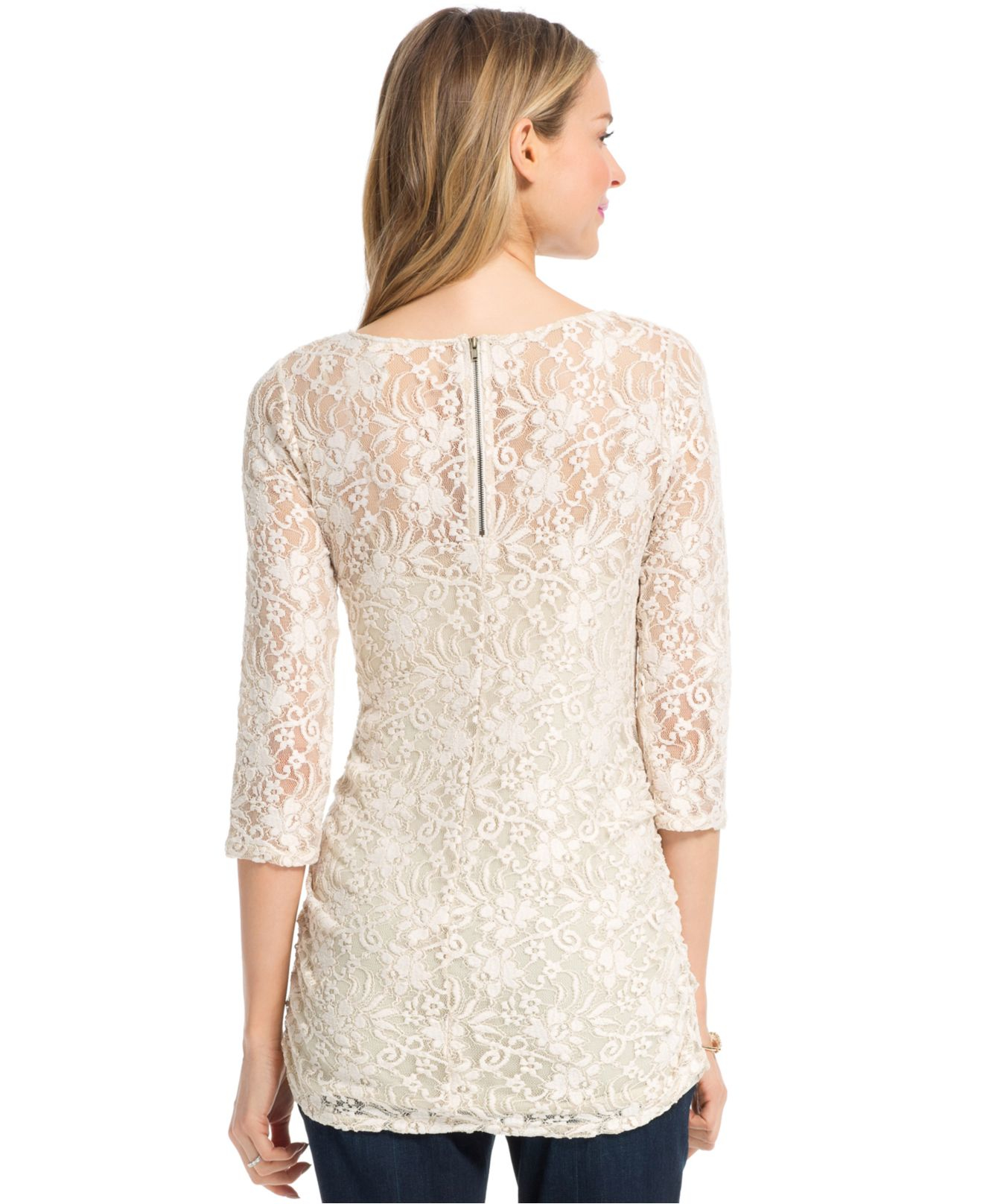 Jessica simpson maternity lace three quarter sleeve top in white gallery ombrellifo Gallery